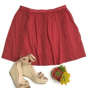J. Crew Swiss Dot Pom Pom Skirt Rust Red